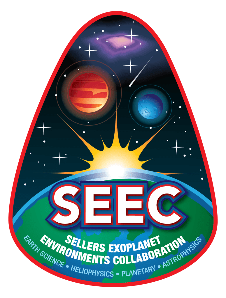 This is the logo for the Sellers Exoplanet Environments Collaboration, which focuses on Earth Science, Heliophysics, Planetary, and Astrophysics multidisciplinary work. The logo is egg-shaped with a bold red outline. The interior shows the curve of Earth on the bottom of the image, with the sun peeking out beyond the curve. Above the sun, one red planet and one blue planet float. At the very top there is a hazy purple blob representing a nebula. The background is black with stars.